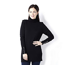 Diane Gilman Turtle Neck Sweater with Faux Jewel Buttons