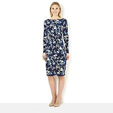 Kim & Co Rose Bloom Brazil Knit Long Sleeve Twist Front Dress