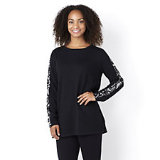 Round Neck Jumper with Sequin Sleeves by Nick Verreos