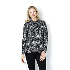 MarlaWynne Paisley Print Reversible Cowl Neck Sweater