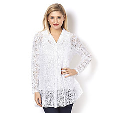 Long Sleeve Sequin Lace Hem Shirt by Michele Hope