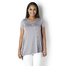 Yong Kim Modal Short Sleeve Tunic with Button Detail