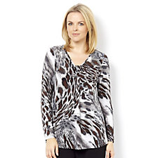 Kim & Co Brazil Knit w/Foil Glamorous Leo Long Sleeve Waterfall Top