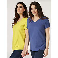 C. Wonder Essentials Pack of 2 V Neck Short Sleeve Tops