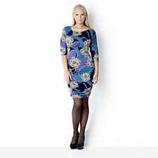 Outlet Kim & Co Bijoux Print Empire Line Ruched Dress