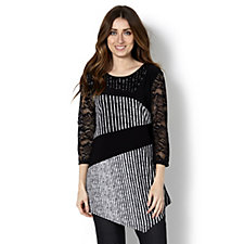 Grace 3/4 Sleeve Striped Asymmetric Tunic with Lace Sleeves
