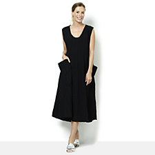 Join Clothes Round Neck Midi Dress with Drape Pockets