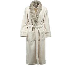Cozee Home Faux Fur Trim Robe