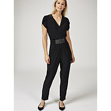 Grace Short Sleeve V Neck Jumpsuit with Embellished Panel