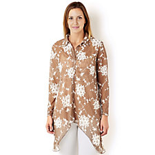 Rose Print Lace Shirt by Michele Hope