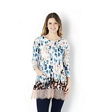 Logo by Lori Goldstein Border Print Viscose Top with Lace Trim