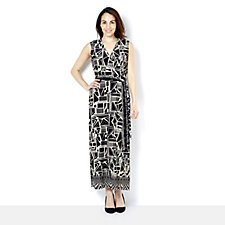 Attitudes by Renee Sleeveless Printed Jersey Wrap Maxi Dress