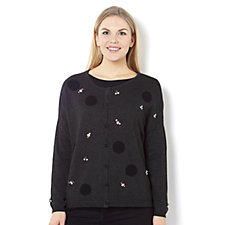 161138 - Knitwear by Etoile Crew Neck Embellished Polka Dot Cardigan