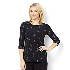 Kim & Co Brazil Knit Birds Print 3/4 Sleeve Top