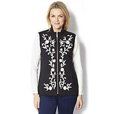 Bob Mackie Floral Embroidered Zip Front Pocket Knit Waistcoat
