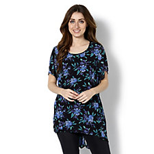 Floral Printed Dip Back Hem Tunic by Michele Hope
