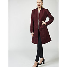 H by Halston Melton Long Coat with Inverted Collar
