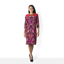 Tiana B  Print Knitted 3/4 Sleeve Shift Dress