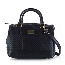 Tignanello Embossed Distressed Leather Status Satchel Bag