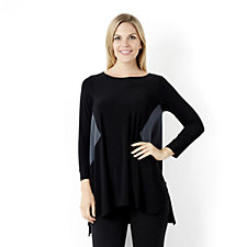Yong Kim Jersey Long Sleeve Tunic with Sharkbite Hem & Contrast Detail