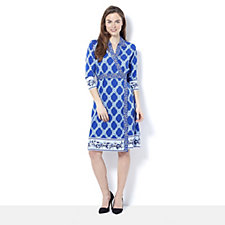 C. Wonder Printed Faux Wrap Dress