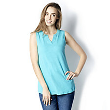 Denim & Co. Sleeveless Split V Neck Curved Hem Top
