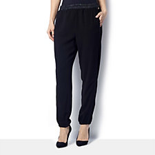 L'Officina Della Moda Faux Leather Trim Pull OnTrouser