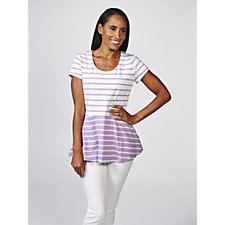 Isaac Mizrahi Live Short Sleeve Contrast Striped Peplum Top