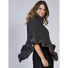 Rino & Pelle Knitted Faux Fur Trim Poncho