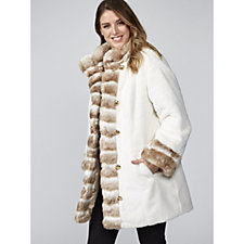 Dennis Basso Reversible Stand Collar Coat with Faux Fur Trim