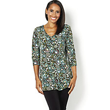145940 - Kim & Co Printed Brazil Knit 3/4 Sleeve V Neck Tunic