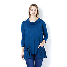 Yong Kim Crinkle Tissue Knit Tunic with Cowl Neckline