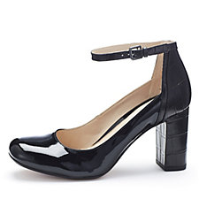 Clarks Gabriel Candy Leather Court Shoe with Ankle Strap