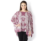 Attitudes by Renee Printed Jersey Dolman Sleeve Poncho