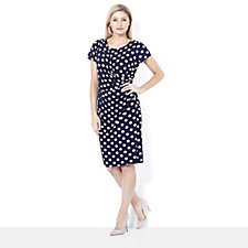 Ronni Nicole 'O So Slim' Ruched Mock Wrap Polka Dot Dress