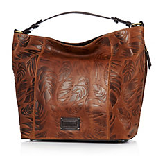 Tignanello Borough Palm Embossed Glazed Vintage Hobo Bag  RFID Protection