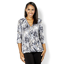 Kim & Co Swoosh Print Brazil Knit 3/4 Sleeve Faux Wrap Top