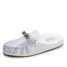 Pretty You London Rosie Metallic Effect Mule Slippers