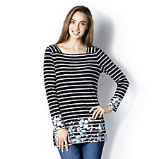 Printed Liquid Knit Square Neck Top by Susan Graver