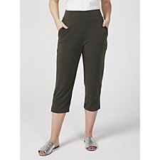 163340 - Kim & Co Brazil Knit Wide Waistband Cropped Trousers with Pockets