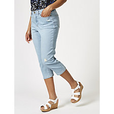 Denim & Co. Distressed 5 Pocket Capri Trouser