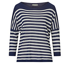 Betty & Co Stripe Lightweight Knit 3/4 Sleeve Pullover
