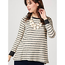 Christopher Fink Long Sleeve Striped Knit Top with Chiffon Detail