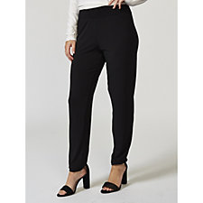 Kim & Co Silky Brazil Knit Wide Waistband Narrow Leg Regular Trousers