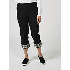 171940 - Denim & Co. Embroidered Stretch Twill Capri Trousers
