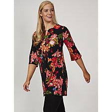 Kim & Co Rose Lily Brazil Knit 3/4 Bell Sleeve Kaftan Tunic Dress
