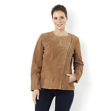 Dennis Basso Washable Suede Zip Side Jacket