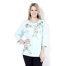 Quacker Factory Floral Print 3/4 Sleeve T-Shirt