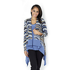 Attitudes by Renee Printed Cascade Jacket with Sleeveless Top
