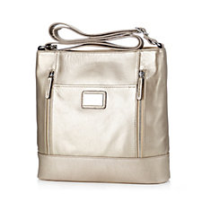 Tignanello Pebble Leather Large Front Zips Crossbody Bag